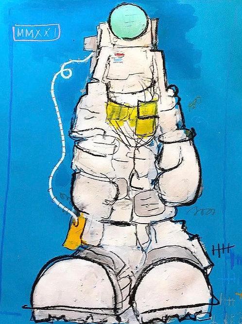 Moon Man Blue 16x12