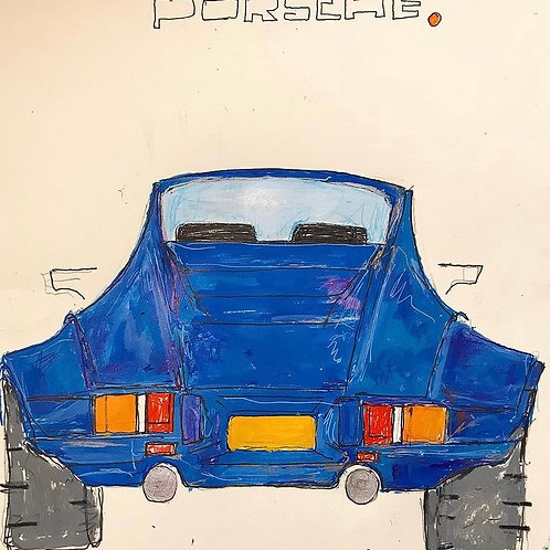 Porsche electric blue 11x14