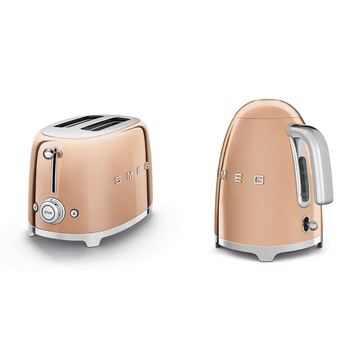 SMEG SPECIAL EDITION KETTLE AND 2 SLICE TOASTER ROSE GOLD