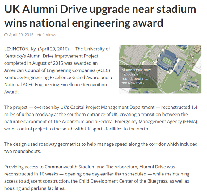 Alumni Drive Project Wins National Engineering Award