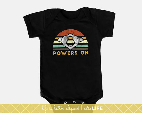 Chiro Baby Power's On Onesie: Chiropractic Kids Shirt