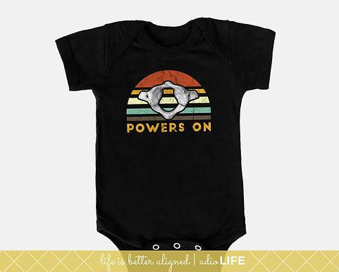 Chiro Baby Power's On Onesie: Chiropractic Kids Shirt