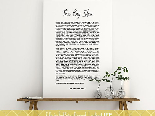 Big Idea/BJ Palmer Quote: Chiropractor Canvas