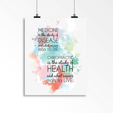 Chiropractic is the study of health and causes man to live: Wall Art