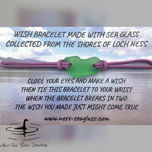 Green Loch Ness Sea Glass Wish Bracelet