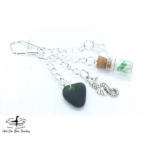 Green Loch Ness Sea Glass, Sea Glass Chips, Seahorse and Initial Keyring