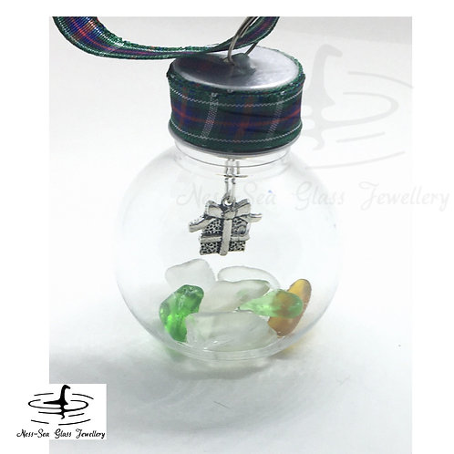 Mini Loch Ness Sea Glass Present Christmas Bauble