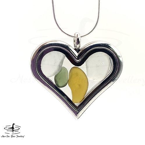 Loch Ness Sea Glass Heart Shaped Floating Locket & Sterling Silver Snake Chain