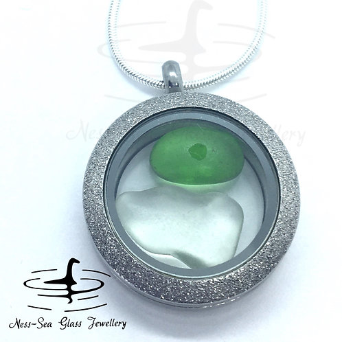 Loch Ness Sea Glass Shimmer Floating Locket with Sterling Silver Snake Chain