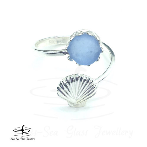 Blue Loch Ness Sea Glass Sterling Silver Shell Adjustable Ring