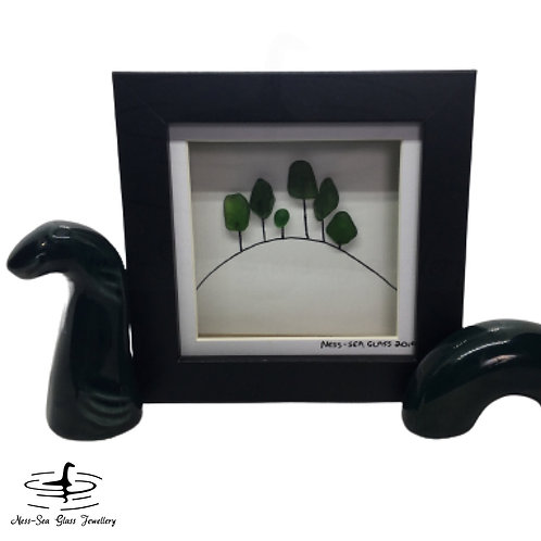 Loch Ness Sea Glass Trees on Hill - Box Frame Picture