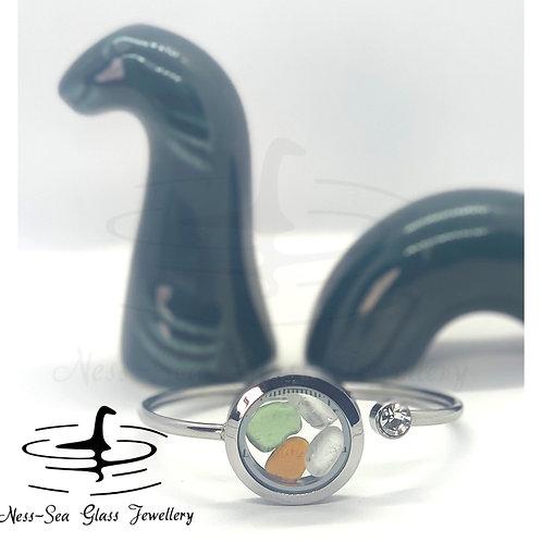 Loch Ness Sea Glass Floating Locket Bracelet