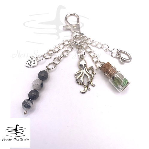 Personalised Loch Ness Sea Glass Chips, Octopus Keyring / Bag Charm