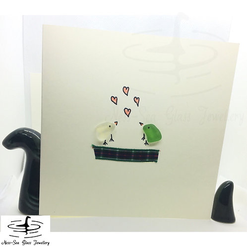 Loch Ness Sea Glass Birds and Hearts card