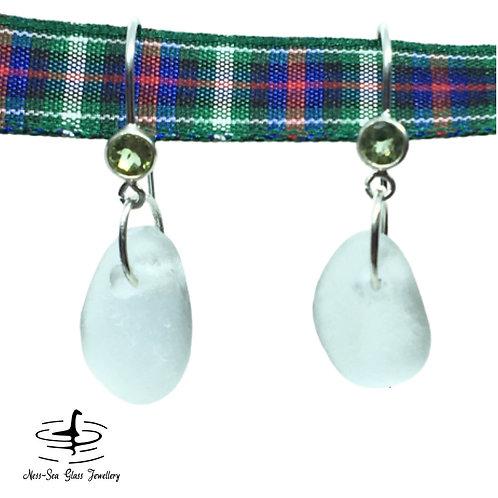 Clear Loch Ness Sea Glass Sterling Silver Peridot Gemstone Hook Earrings