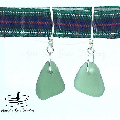 Green Loch Ness Sea Glass Sterling Silver Hook Earrings