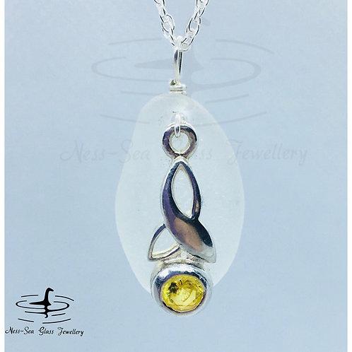 November -Clear Loch Ness Sea Glass  Sterling Silver Topaz Trinity Knot