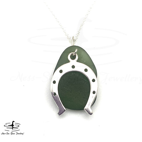 Green Loch Ness Sea Glass  Sterling Silver Horseshoe Necklace