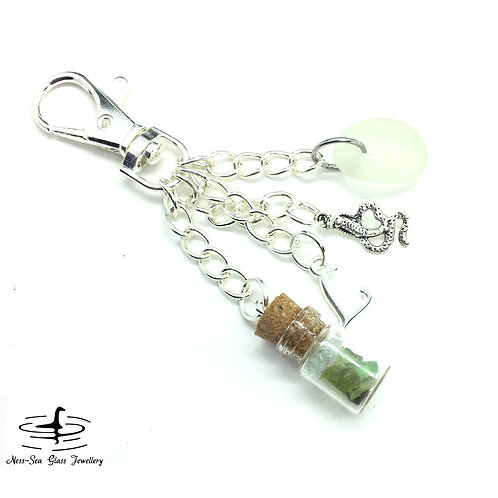 Clear Loch Ness Sea Glass, Sea Glass Chips, Snake and Initial Keyring