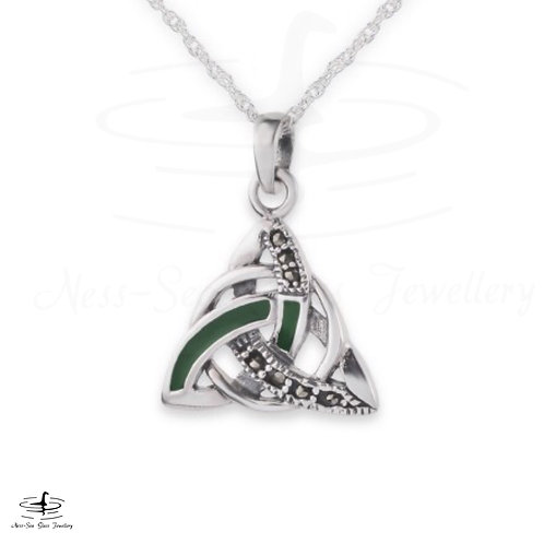 Celtic Trinity Knot Silver Pendant with Marcasite & Green Enamel