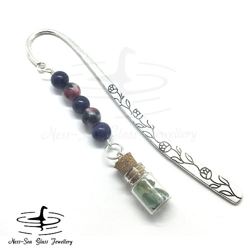 Flower Book Mark with Loch Ness Sea Glass Chips & Jade Beads
