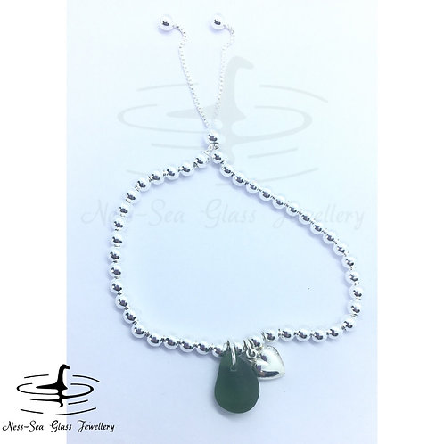 Green Loch Ness Sea Glass Sterling Silver Adjustable Heart & Bead Bracelet
