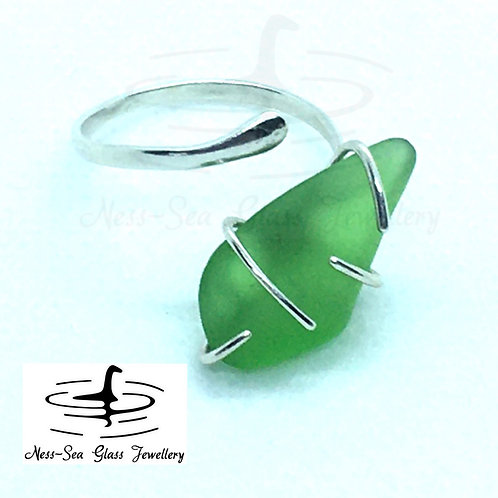 Green Loch Ness Sea Glass Sterling Silver Adjustable Ring