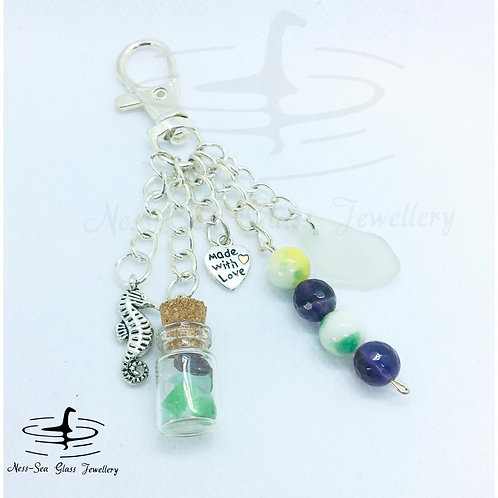 Clear Loch Ness Sea Glass, Sea Glass Chips, Sea Horse Keyring