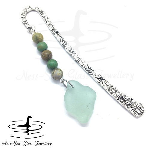 Blue Loch Ness Sea Glass Butterfly Book Mark with Rhyolite & Turquoise beads
