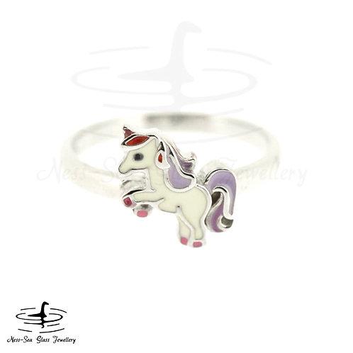 Children's Sterling Silver Enamel Unicorn Adjustable Ring