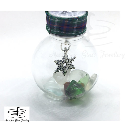 Mini Loch Ness Sea Glass Snowflake Christmas Bauble