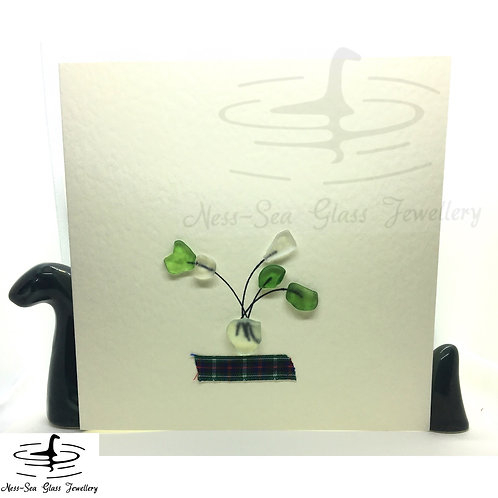 Loch Ness Sea Glass Vase of Flowers Card