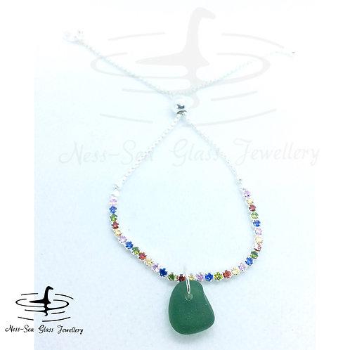 Green Loch Ness Sea Glass Sterling Silver Adjustable Rainbow Bracelet