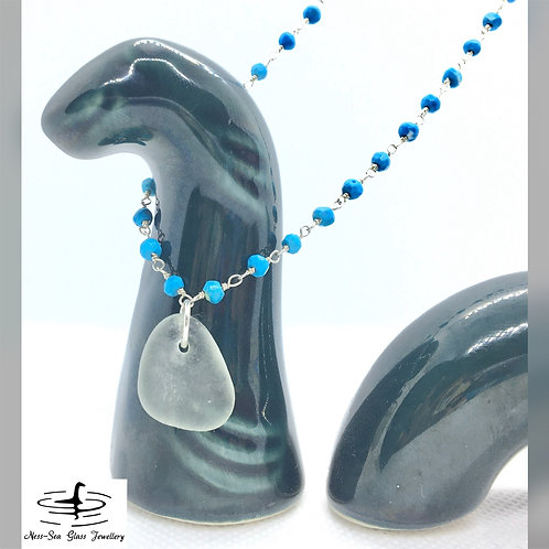 Green Loch Ness Sea Glass Rosary Sterling Silver Turquoise Necklace