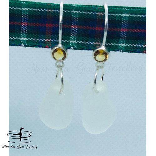 Clear Loch Ness Sea Glass Sterling Silver Citrine Gemstone Hook Earrings