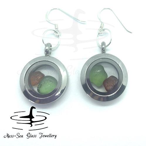 Loch Ness Sea Glass Floating Locket Sterling Silver Hook Earrings