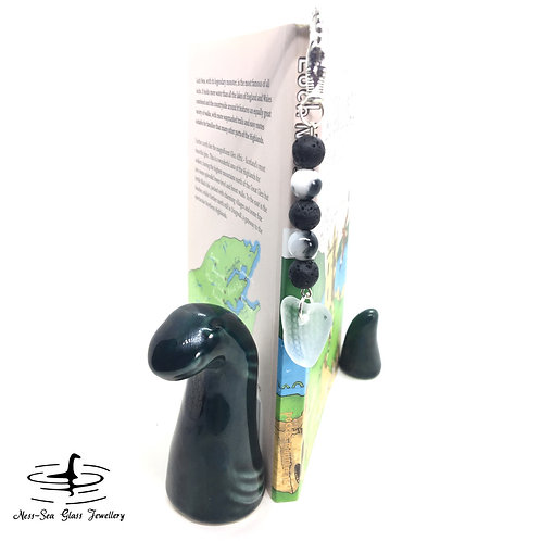 Clear Patterned Loch Ness Sea Glass Dragon Book Mark, Lava Rock and Jade beads