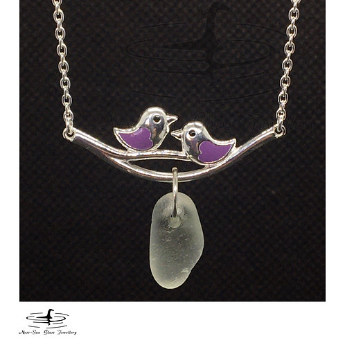 Clear Loch Ness Sea Glass Sterling Silver Purple Birds Necklace