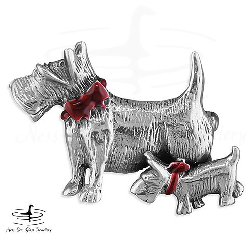 Scottie Dogs with Red Collar Sterling Silver Brooch