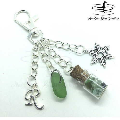 Green Loch Ness Sea Glass, Sea Glass Chips, Snowflake and Initial Keyring