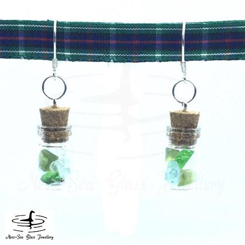 Loch Ness Sea Glass Bottle Chips Sterling Silver Hook Earrings - made to otder