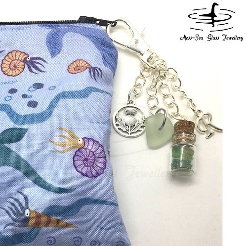 Blue Loch Ness Sea Glass, Sea Glass Chips, Thistle and Initial Keyring