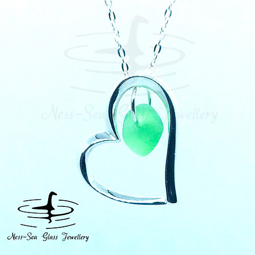 Green Loch Ness Sea Glass Necklace with Sterling Silver Heart necklace