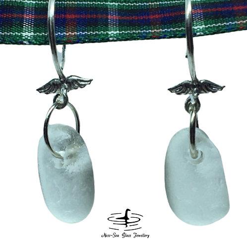 Clear Loch Ness Sea Glass Sterling Silver Angel Wing Earrings