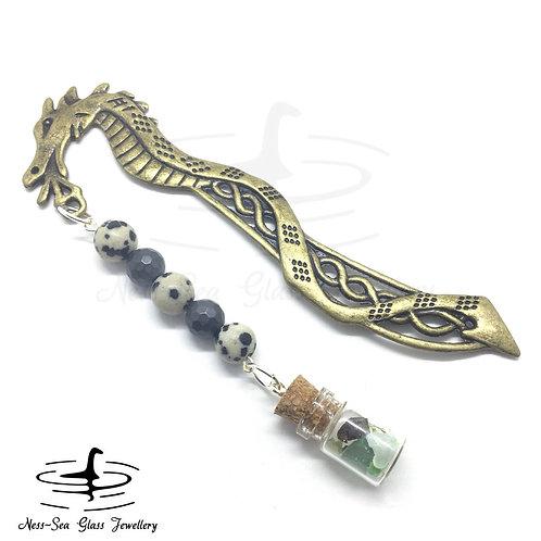 Loch Ness Sea Glass Chips Bronze Dragon Book Mark with Jasper & Amethyst Beads