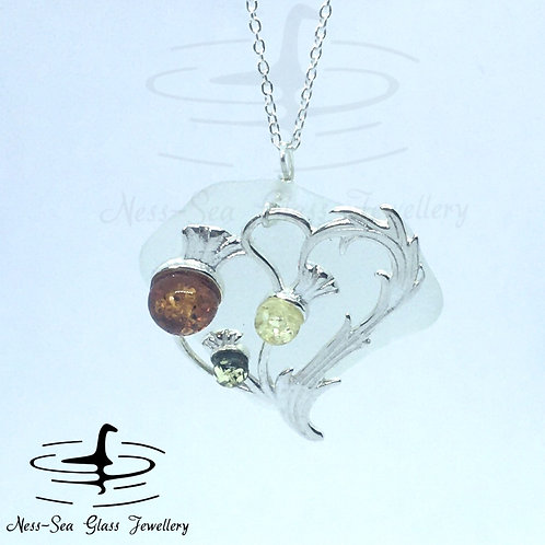 Clear Loch Ness Sea Glass with Sterling Silver Amber Gemstone Thistle and Chain
