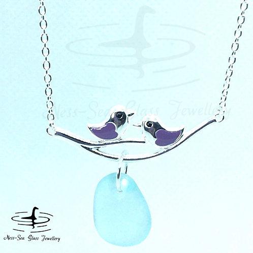 Blue Loch Ness Sea Glass Sterling Silver Purple Birds Necklace