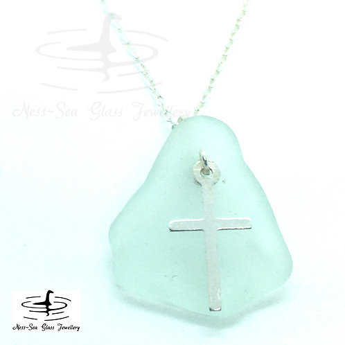 Blue Loch Ness Sea Glass with Sterling Silver Cross and Chain
