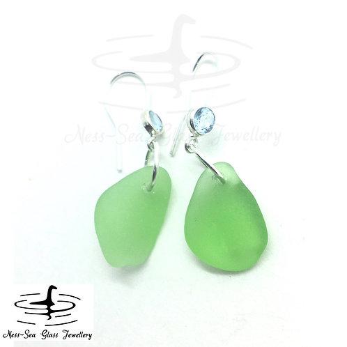 Green Loch Ness Sea Glass Sterling Silver Sky Blue Topaz Gemstone Hook Earrings