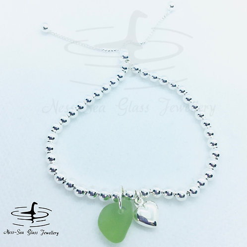 Green Loch Ness Sea Glass Sterling Silver Adjustable Heart & Bead Bracelet